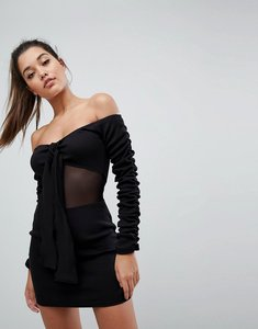 Read more about Missguided londunn tie front bardot mini dress - black