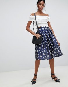 Read more about Liquorish polka dot pleated prom skirt - blue polka