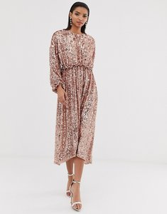 Read more about Asos edition open back waisted midi dress in sequin