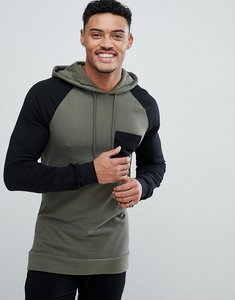 Read more about Asos muscle fit longline hoodie with contrast raglan sleeve in khaki and black - toad black