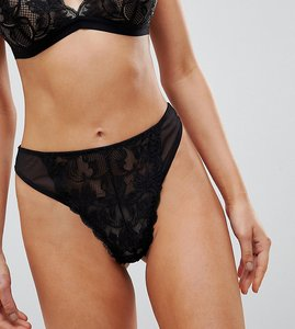 Read more about Wolf whistle black lace high leg thong - black