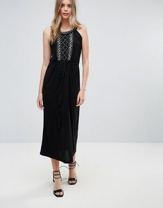 Read more about French connection goldie stone strappy maxi dress - black