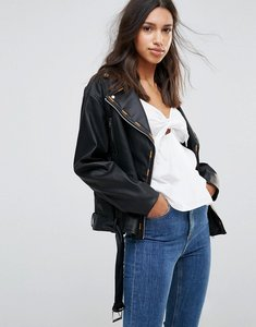 Read more about Lunik pu biker jacket with embroidery trim - black
