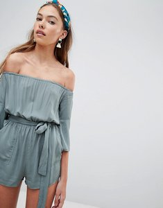 Read more about Glamorous off shoulder playsuit - khaki