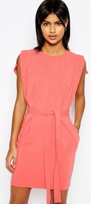 Read more about Asos belted mini dress with split cap sleeve and pencil skirt - pink