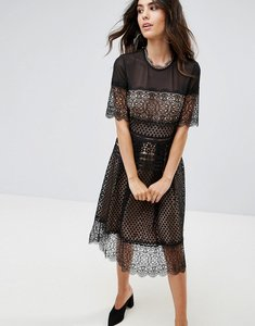 Read more about French connection anouk lace midi dress - black