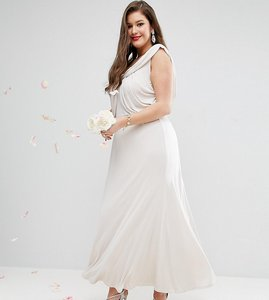 Read more about Asos curve wedding slinky drape front maxi dress - mink