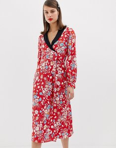 Read more about Asos design midi dress with long sleeves in floral jacquard print - multi