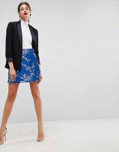 Read more about Asos wrap mini skirt in jacquard - blue silver