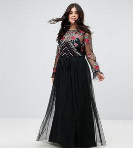 Read more about Frock and frill plus premium embroidered high neck long sleeve maxi dress - black