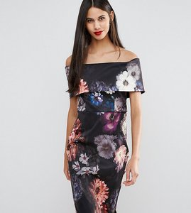 Read more about Asos tall deep fold off the shoulder floral midi pencil dress - multi