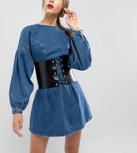 Read more about Retro luxe london wide leather corset belt with eyelet lace up - black