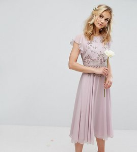Read more about Maya midi dress with lace embellishment and circle skirt in chiffon - lilac