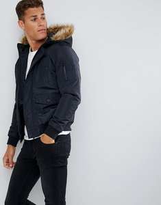 Read more about French connection faux fur hood flight jacket - marine