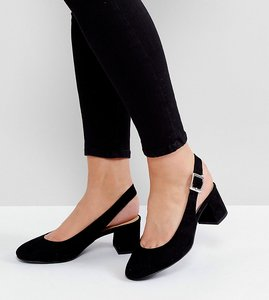 Read more about New look wide fit sling back block heeled shoe - black