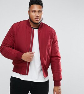 Read more about Asos plus bomber jacket with ma1 pocket in red - red