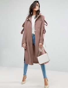 Read more about Asos duster coat with loop sleeve detail - pink