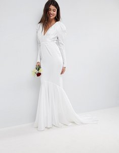 Read more about Asos edition pintuck shoulder wedding dress with fishtail - white