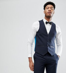 Read more about Harry brown tall plain black slim tuxedo waistcoat - navy