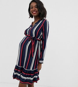 Read more about Mamalicious maternity v neck stripe midi dress
