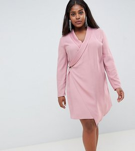 Read more about Asos design curve mini tux dress with long sleeves - pink