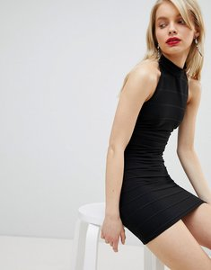 Read more about Miss selfridge halter neck bandage dress - black