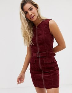 Read more about Urban bliss wednesday cord dress with zip front and belt detail