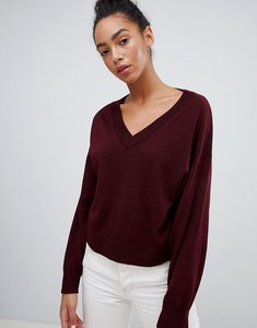 Read more about Asos jumper in eco yarn with v neck and batwing sleeves - berry