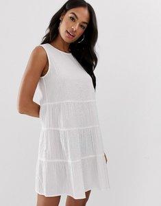 Read more about Asos design sleeveless tiered mini smock dress in seersucker