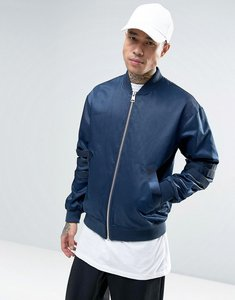 Read more about Asos bomber jacket with multi arm straps in blue - navy