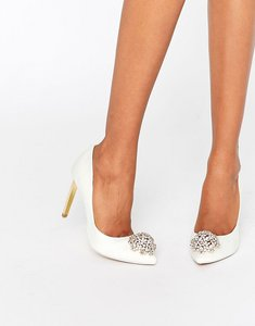 Read more about Ted baker peetch tie the knot ivory embellished court shoes - ivory textile