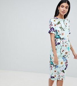 Read more about Asos design tall wiggle midi dress in floral print - multi