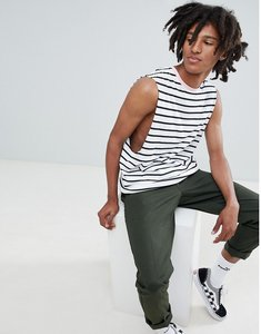 Read more about Asos design stripe sleeveless t-shirt with dropped armhole in white with pink contrast neck - white