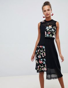 Read more about Asos design embroidered mesh midi dress - black