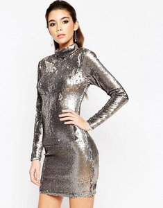 Read more about Asos night embellished polo sequin mini dress - gun metal