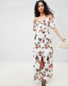 Read more about Parisian cold shoulder floral maxi dress - white