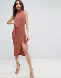 Read more about Asos slinky high neck tie side midi bodycon dress - rose pink
