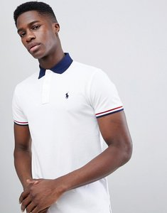Read more about Polo ralph lauren contrast collar pique polo tipped cuff custom regular fit in white navy - white
