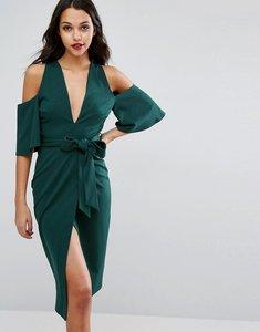 Read more about Asos cold shoulder kimono tie pencil dress - green