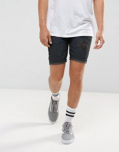 Read more about Asos denim shorts in slim with rip and repair detail - washed black