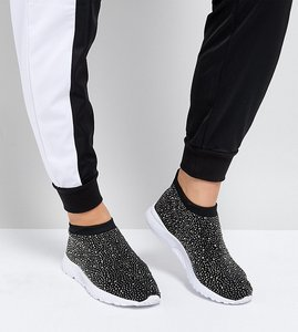 Read more about Asos dusk wide fit embellished sock trainers - black