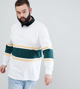 bbdf1ceae7b Read more about Asos design plus relaxed long sleeve rugby polo shirt with  contrast panelling in