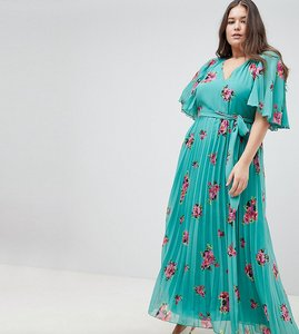 31fec7c80eb Read more about Asos design curve floral flutter sleeve pleated maxi dress  - multi