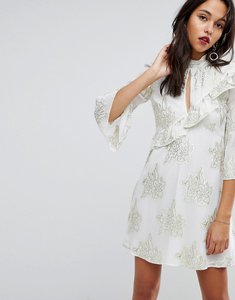 Read more about Miss selfridge tiered metallic printed shift dress - white floral