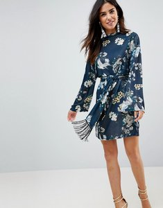 Read more about Asos kimono sleeve bird print mini dress with self fringe belt - bird print
