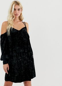 Read more about Y a s cold shoulder velvet mini dress - black