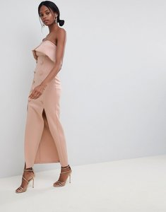 Read more about Asos design button tux scuba bandeau maxi dress - mink