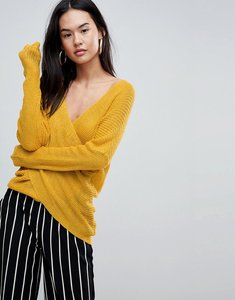 Read more about Parallel lines light knit jumper with wrap front - mustard