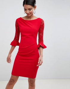 Read more about City goddess pleated midi dress with lace sleeves - red