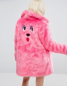 Read more about Lazy oaf oversized faux fur coat coat with bear embroidery - pink